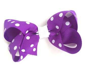 Purple polka dot hair bow - purple hair bow, 3 inch hair bows, boutique bows, toddler hair bows, girls hair bows, girls bows, hair bows