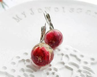 Unique anniversary gift for her Real red rose earrings Real flower earrings red rose bud Resin earrings Nature jewelry unique gift for wife