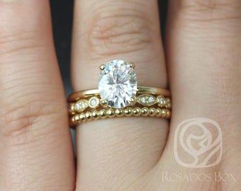 Rosados Box Harper 9x7mm, Quinn, Buddha Beads 14kt Yellow Gold Oval F1- Moissanite and Diamonds TRIO Wedding Set