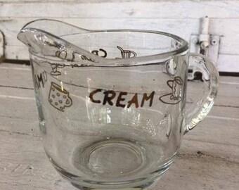 Retro Cream Pitcher, Coffee Creamer, Clear Glass Creamer, Coffee Graphics, Small Pitcher, Cream Server, Coffee Lover Gift