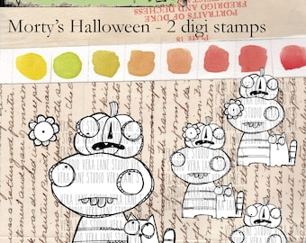 Morty's Halloween - quirky two digi image stamp set