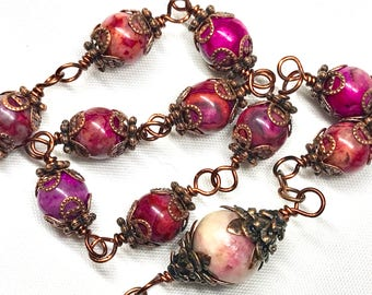 Copper, Jasper Gemstones, Tenner, Rosary, Multicolor Magenta Purple Pink Coral Swirls, Copper Bead Caps & Crucifix, Rosaries, Catholic
