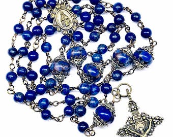 Catholic Five Decade Rosary, Bronze Crucifix & Medal, Lapis Lazuli Beads, Larger Rondelles, Prayer Beads, Christian Faith, Pray The Rosary