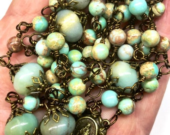 Catholic Rosaries, Five Decades, Bronze Vatican Crucifix, Aqua Terra & Amazonite, Christian, Faith, Prayer Beads, Religious Gifts, Lent