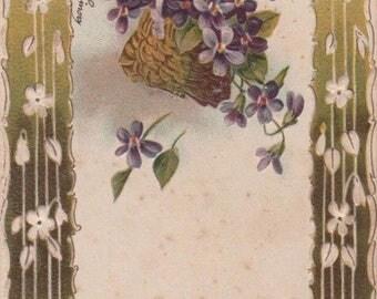 Art Nouveau Violets In A Basket Hanging By A Ribbon Antique Postcard