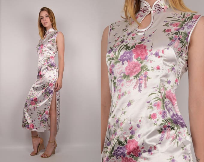 Vintage Cheongsam Dress w/ high slits