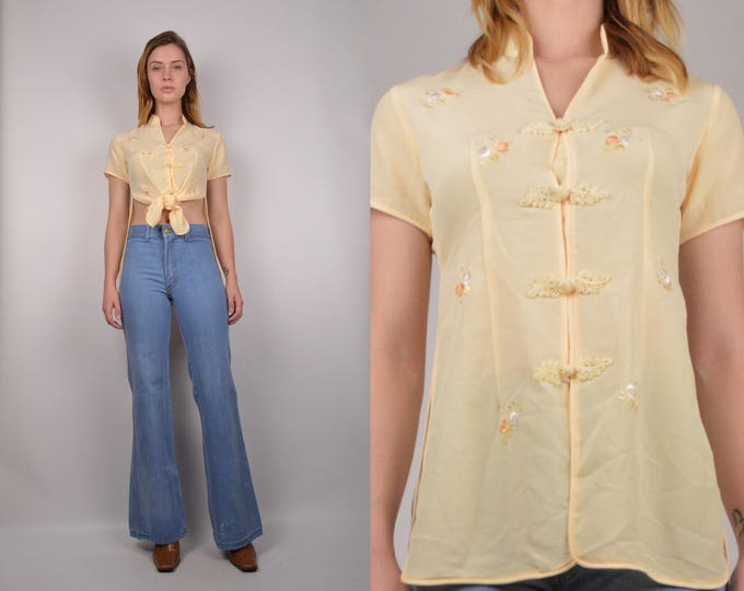 Vintage Yellow Mandarin Embroidered Top
