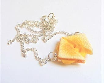Food Jewelry, Grilled Cheese Necklace, Miniature Food Necklace, Miniature Food Jewelry, Grilled Cheese Pendant, Mini Food , Toasted Cheese