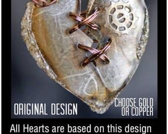 Heart Necklace, Statement Necklace, Gift for Her, Heart Pendant, SteamPunk Heart, Steampunk Jewlery, Pendant, Broken Heart, Art Jewelry