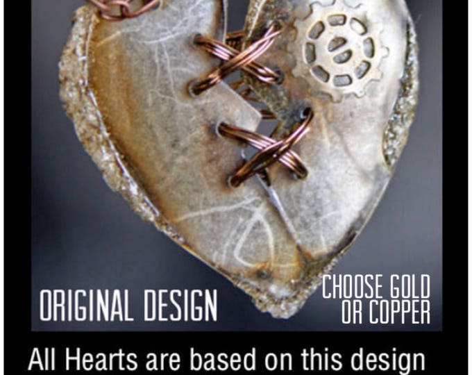 Featured listing image: Heart Necklace, Statement Necklace, Gift for Her, Heart Pendant, SteamPunk Heart, Steampunk Jewlery, Pendant, Broken Heart, Art Jewelry