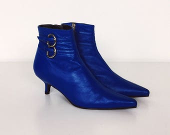 Electric Neon Blue Winklepicker Pointy Toe 80's Retro Kitten Heel Ankle Boots // Women's size 5