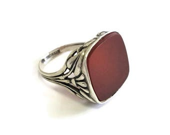 Art Nouveau Ring Carnelian Sterling Silver Setting Antique  SZ 7.75 Floral Nature Inspired Vintage Jewelry Leaf Vine Blossom