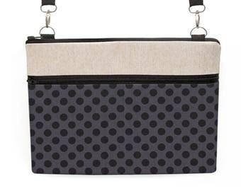 "15"" Laptop Crossbody, MacBook 13"" Laptop Shoulder Bag, Padded Macbook Pro Briefcase, iPad Pro 10.5 Tote Bag - black and gray dots"