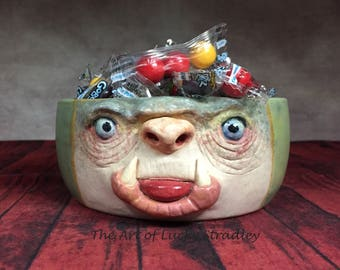 BOWL - medium ceramic,  wheel thrown, hand altered & sculpted. Just a friendly face to enjoy your favorite soup, ice cream or salad. CBM43
