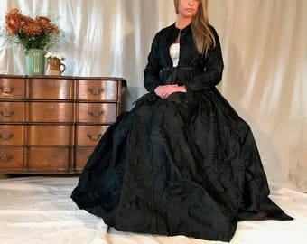 Antique Formal Black Gown, Taffeta Damask Dress, Victorian Era Mourning Gown