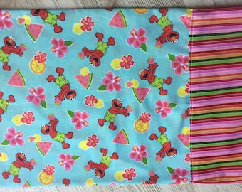 grover with watermelon blue and pink pillowcase travel or standard/ kids pillow cover