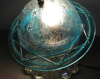 Vintage Saturn Celestial Astronomy Light Blue Glass Lamp
