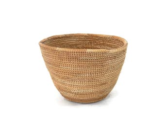 Rwanda African Woven Basket Traditional Tight Weave Container from 1990