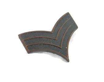 WWII Military Pin Bronze Chevron Stripes Sergeant Rank Pin Chevron w/ Three Stripes