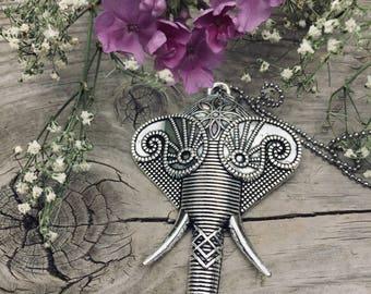 Antique Silver Elephant Pendant Necklace