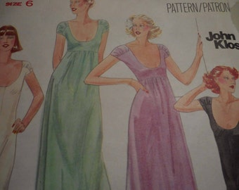 Vintage 1970's Butterick 5706 John Kloss Gowns Sewing Pattern, Size 6 Bust 30 1/2