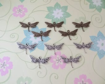 10 pcs - Bronze and/or Silver Dragonfly Charm