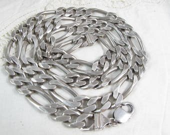 "Vintage Sterling Silver Figaro 10mm Chain Necklace 28"" HEAVY 134g"