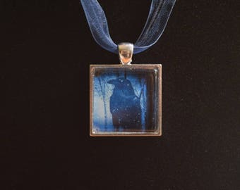 Winter Crow Pendant Necklace
