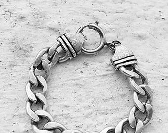Unisex Chain Bracelet, Link Chain Bracelet, Heavy Chain Bracelet, Silver Curb Bracelet, For Men And Women's, Rocker Bracelet, Punk Bracelet