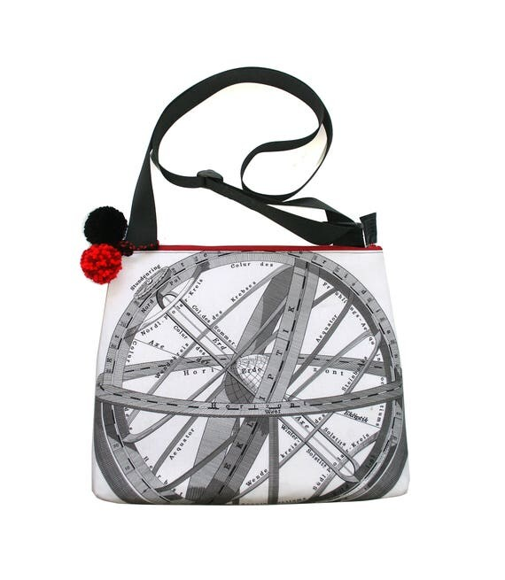 SALE! Astronomy, Science, black and white, pom poms, cross body, zipper top