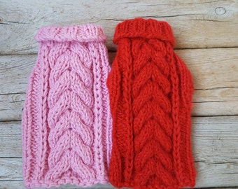 Small Dog Sweater-Chihuahua sweater-Pink Pet Sweater-Dog Costume Size XS
