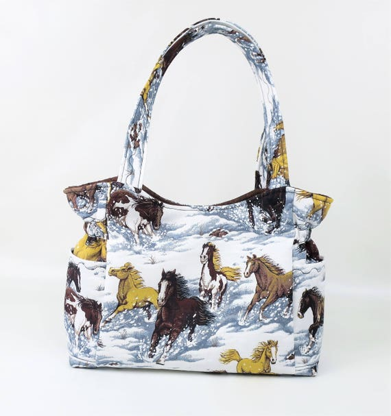 Horse Shoulder Bag Purse Quilted Handbag Horses in Snow Bag : quilted handbags made in usa - Adamdwight.com