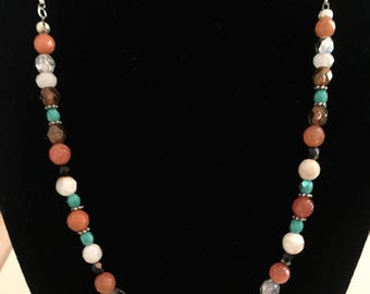 Peach Faceted Quartz Beads With Sparkly Pave Crystal Bead, Faceted White Jade, and Fire Polished Czech Beads Necklace.