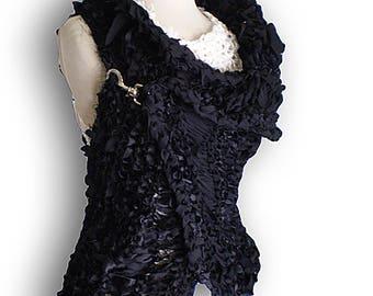 Black  sweater vest hand knitted wrap jacket Black Cardigan Sweater Shrug unusual Sleeveless sweater Shrug