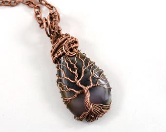 Mom gift Moss Agate Tree-Of-Life Necklace Pendant Copper Wire Wrapped Necklace Jewelry Family Tree Mother daughter gift for mom necklace