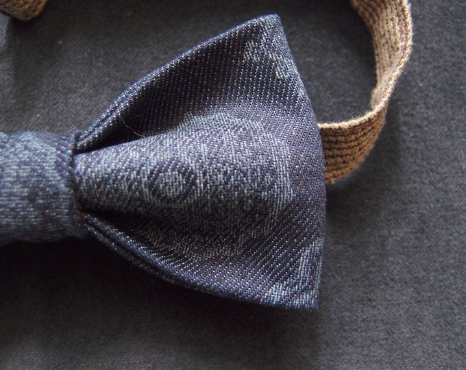 Denim Bow tie, Navy bow tie, Patterned Bow tie, Bow tie blue, Hipster Bow tie, Adult Bow Tie, Bow tie for men, Dark blue bow tie
