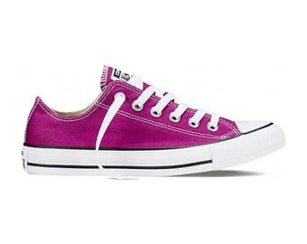 Custom Pink Converse Low Top Orchid Sapphire Fuchsia Magenta w/ Swarovski Crystal Wedding Chuck Taylor Rhinestone All Star Sneakers Shoes
