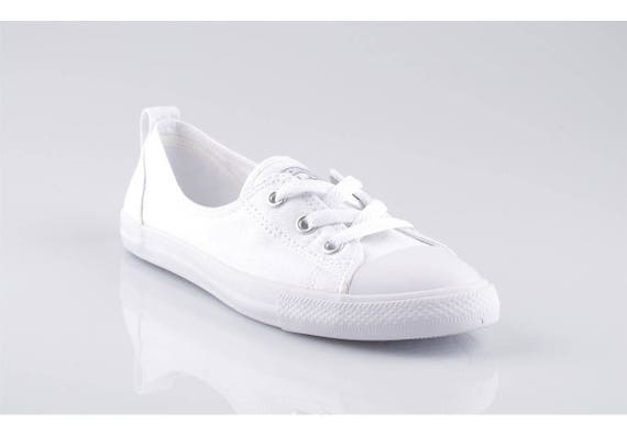 Custom Low Top Slip On Converse Ballet Lace Wedding Bridal Monochrome w/ Swarovski Crystal Chuck Taylor Rhinestone All Star Trainers Shoes