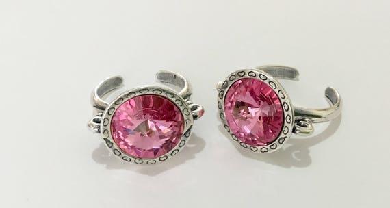 Antique Silver tone Finger Ring Pewter Adjustable Cocktail w/ Swarovski Rose Pink Crystal Rivoli 14mm Rhinestone gem Filigree Ladies Gift