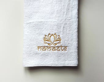 Namaste Towel For Yoga Lessons // Fitness Towel // Personalized Religious Gift