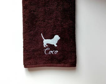 Handmade Baset Dog Personalized Bath and Shower Towel // Embroidered Color Towel for Pets