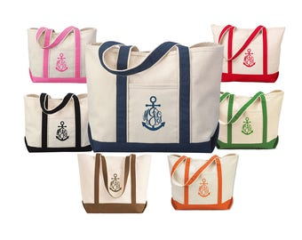 Monogrammed Anchor Tote Bag - Canvas Tote Bag with Anchor Monogram - 7 tote bag colors available
