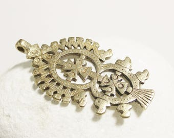 Ethnic Cross Pendant made of Brass, Ethiopian Coptic Cross Pendant (AK227)