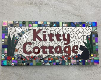 House Sign, made to order, ceramic house name, Cat sign, cottage sign, mosaic, dragonfly, bespoke , plaque, mosaic name sign,