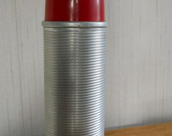 King Seeley Ribbed Aluminum Thermos Bottle #2284 Hot Cold1 pint EUC VINTAGE 60's