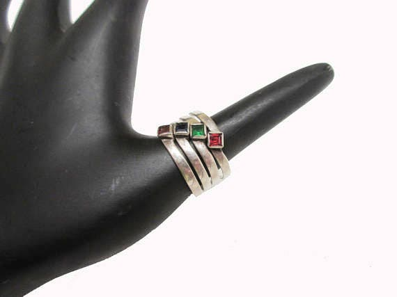 Sterling Stacking Rings - gemstone Red Ruby,garnet ,Ruby,Green Emerald and blue spinel - Boho ring size 9
