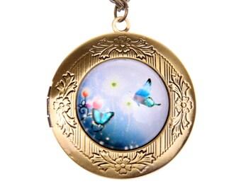 Necklace locket two butterflies 2020m