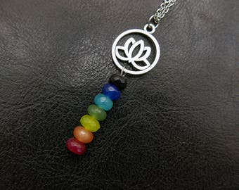 Yoga necklace, 7 chakra necklace, Meditation Necklace, stainless steel chain