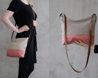 Cross body bag canvas fabric, cross body purse, leather strap, handmade slouch bag, sac,