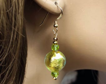 22K Gold Foil Venetian Glass Earrings with Peridot Gemstones, Authentic Murano Glass, Elegant Glass Ball Earrings, Stylish Artisan Earrings